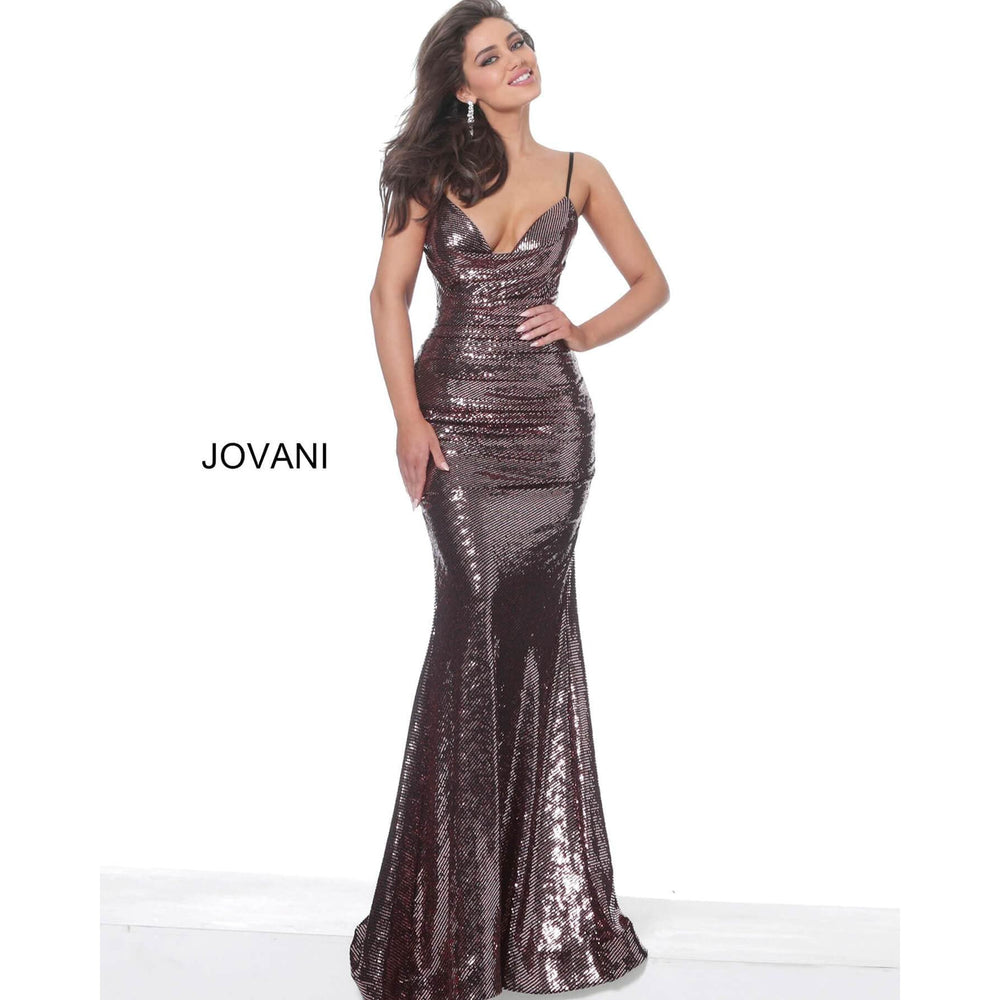 Jovani Evening Dress Jovani 04691 Burgundy Cowl Neckline Prom Dress