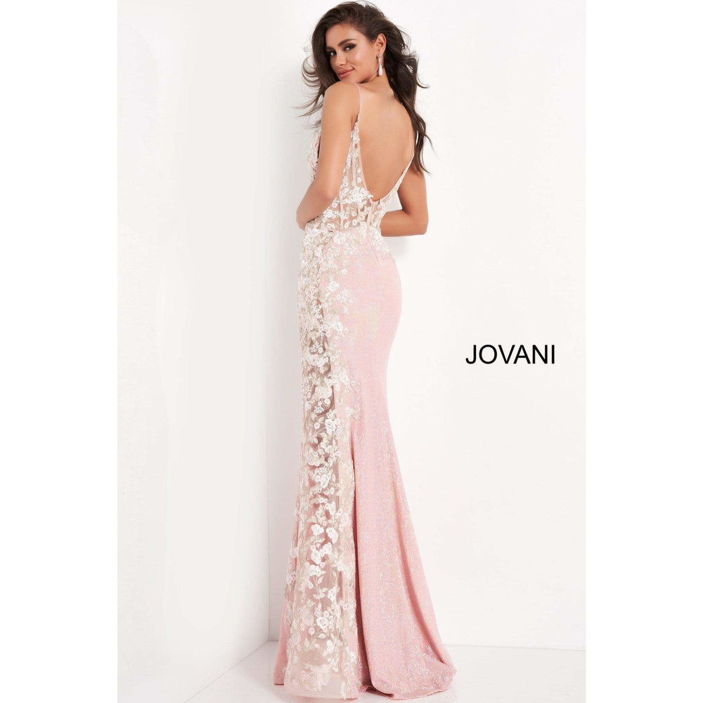 Jovani Evening Dress Jovani 06232 Pink Floral Corset Bodice Prom Dress