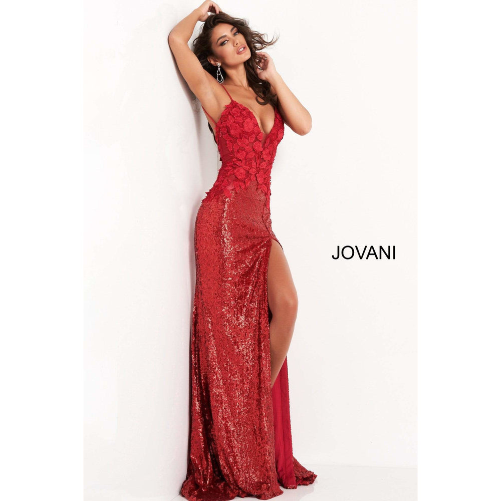 Jovani Evening Dress Jovani 06426 Red Floral Appliques High Slit Prom Dress