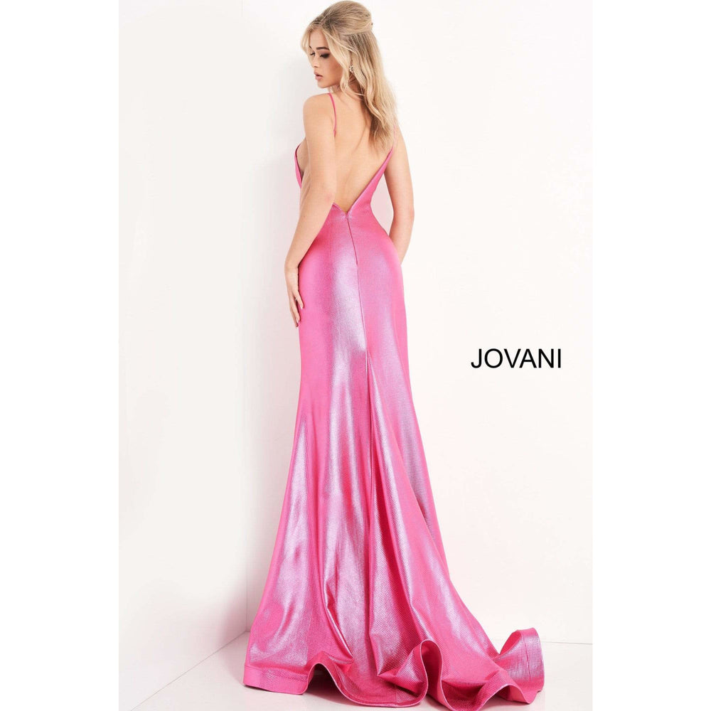 Jovani Evening Dress Jovani 06525 Hot Pink Metallic Backless Prom Dress
