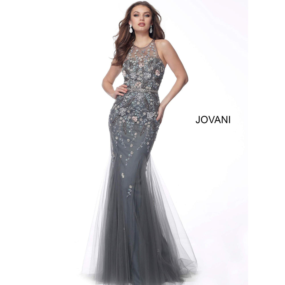 Jovani Evening Dress Jovani 62157 Grey Multi Floral Applique Sleeveless Evening Dress
