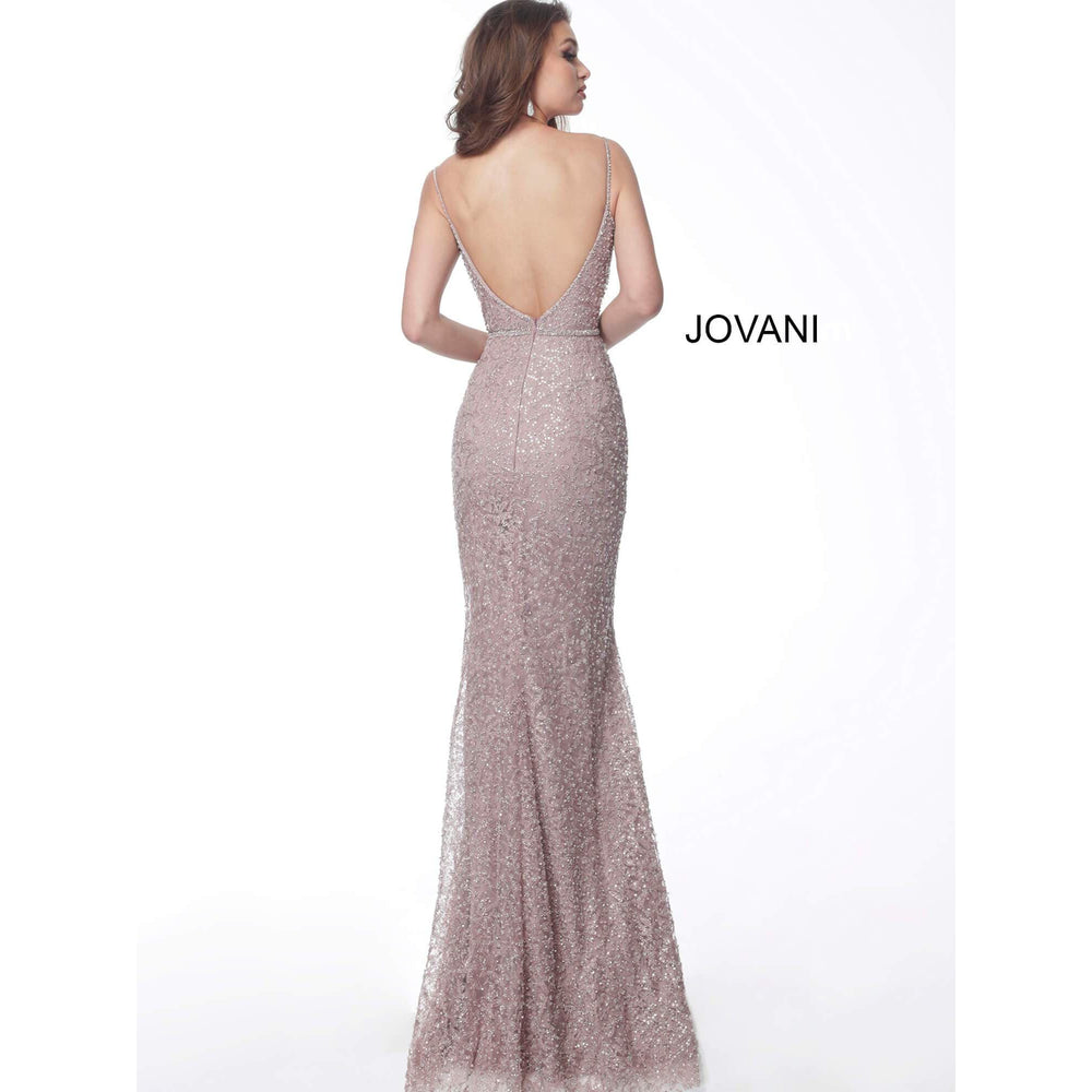 Jovani Evening Dress Jovani 63001 Mauve Embellished V Back Lace Evening Dress