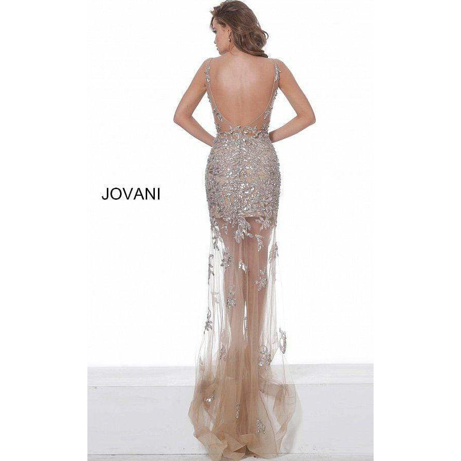 Jovani Evening Dress Jovani 63886 Taupe Embroidered Sheer Neck Prom Dress