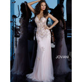 Jovani Evening Dress Jovani 65322 Blush Beaded Backless V Neck Evening Dress