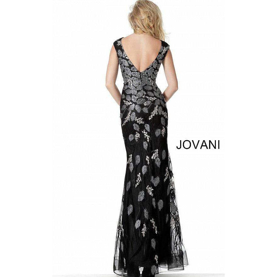 Jovani Evening Dress Jovani 68068 Black Plunging Neckline Embroidered Evening Dress