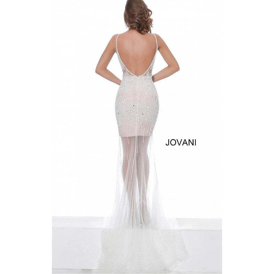 Jovani evening gown Off White Beaded Jovani Prom Dress 67924