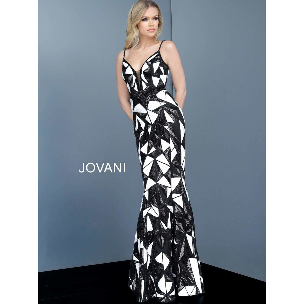 Jovani Evening Gowns Black White Plunging Neckline Spaghetti Straps Jovani Dress 2250