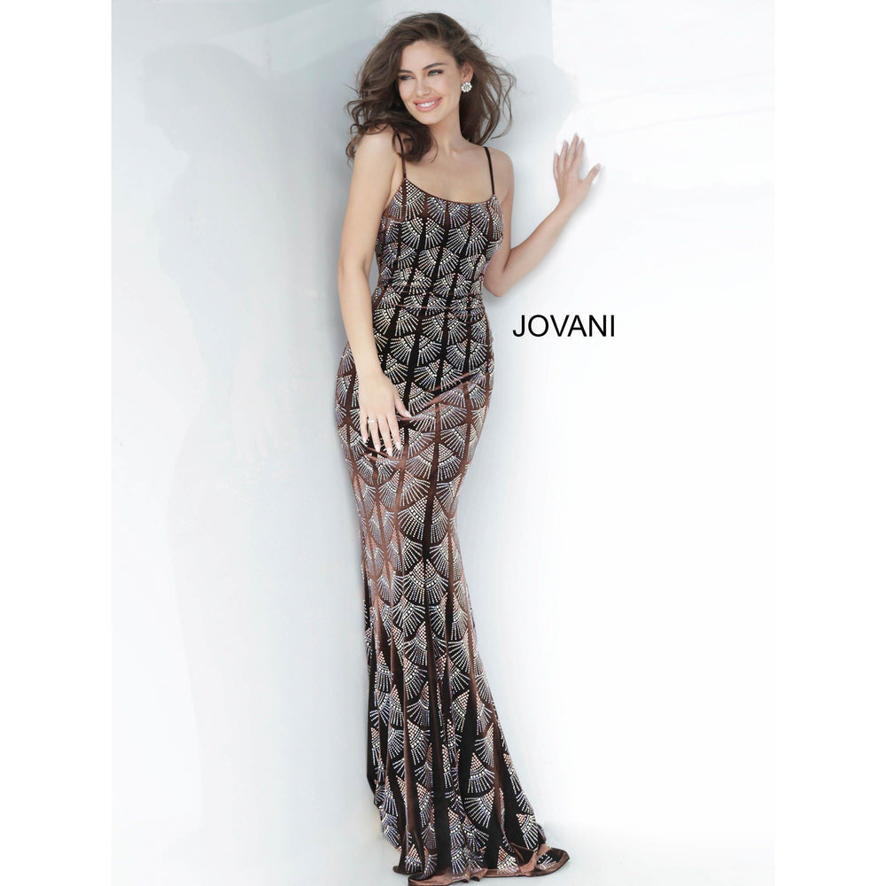 Jovani Evening Gowns Jovani 00993 Brown Beaded Velvet Evening Dress