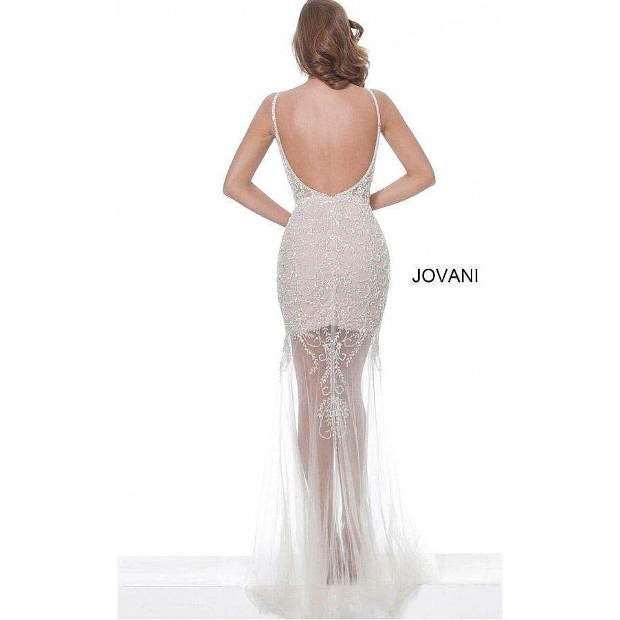 Jovani Evening Gowns Jovani 02092 White Embellished Illusion Prom Dress