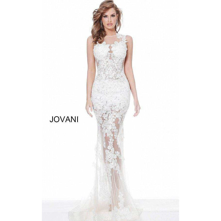 Jovani Evening Gowns Jovani 02531 Off White Nude Embroidered Sleeveless Prom Dress