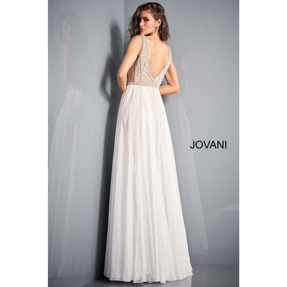 Jovani Evening Gowns Jovani 03374 Nude Off White Chiffon Overskirt Evening Dress