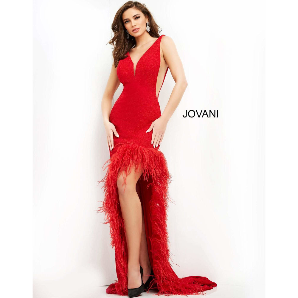 Jovani Evening Gowns Jovani 06605 Evening Feather Gown