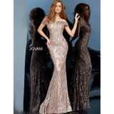 Jovani Evening Gowns Jovani 1122 Off the Shoulder Sequin Gown