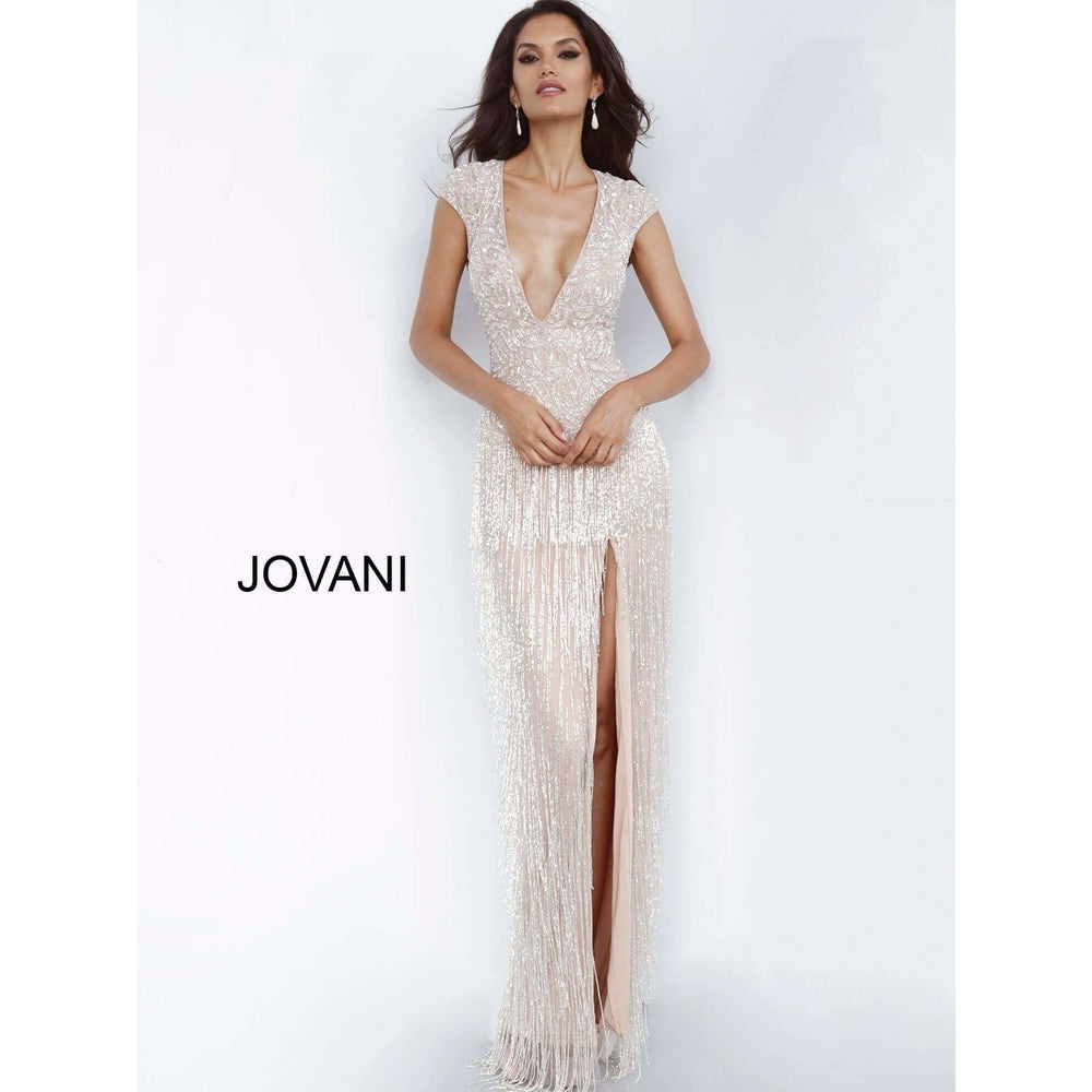 Jovani Evening gowns Nude High Slit Fringe Skirt Evening Dress 68792