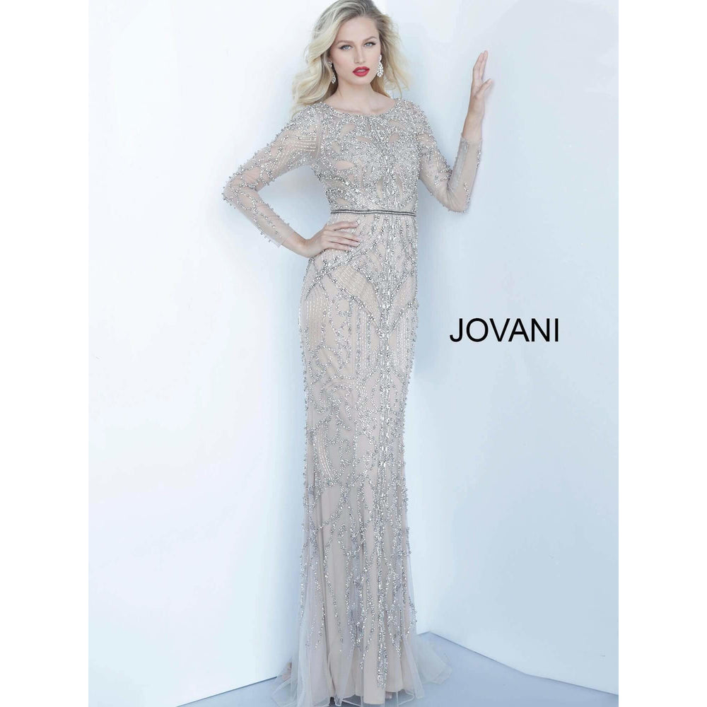 Jovani Evening Gowns Nude Silver Boat Neckline Beaded Jovani Dress 68305