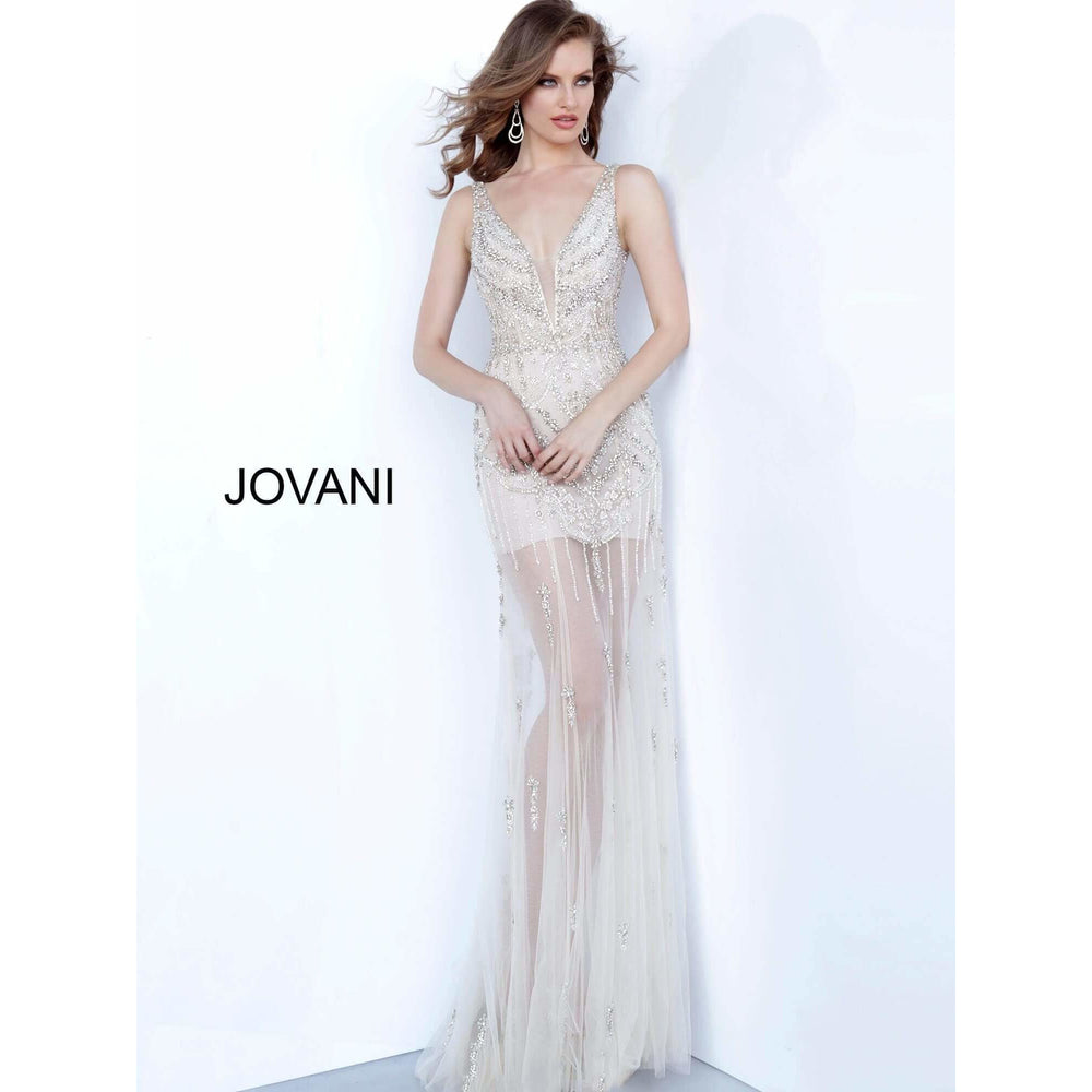 Jovani Evening Gowns Off White Nude Plunging Neckline Beaded Jovani Dress 68476
