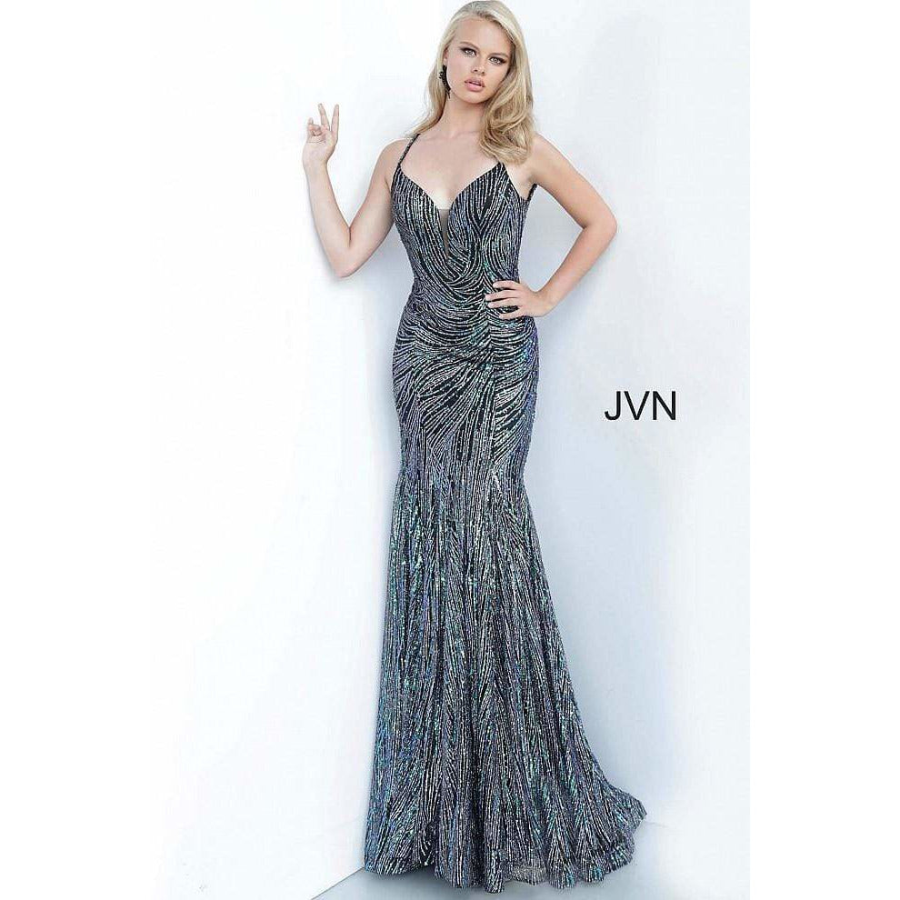 Jovani Fashion Dress Black Multi Plunging Neckline Fitted Prom Dress JVN02432