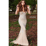 Jovani Fashion Dress Nude Silver Beaded V Neck Fitted Prom Dress 57612
