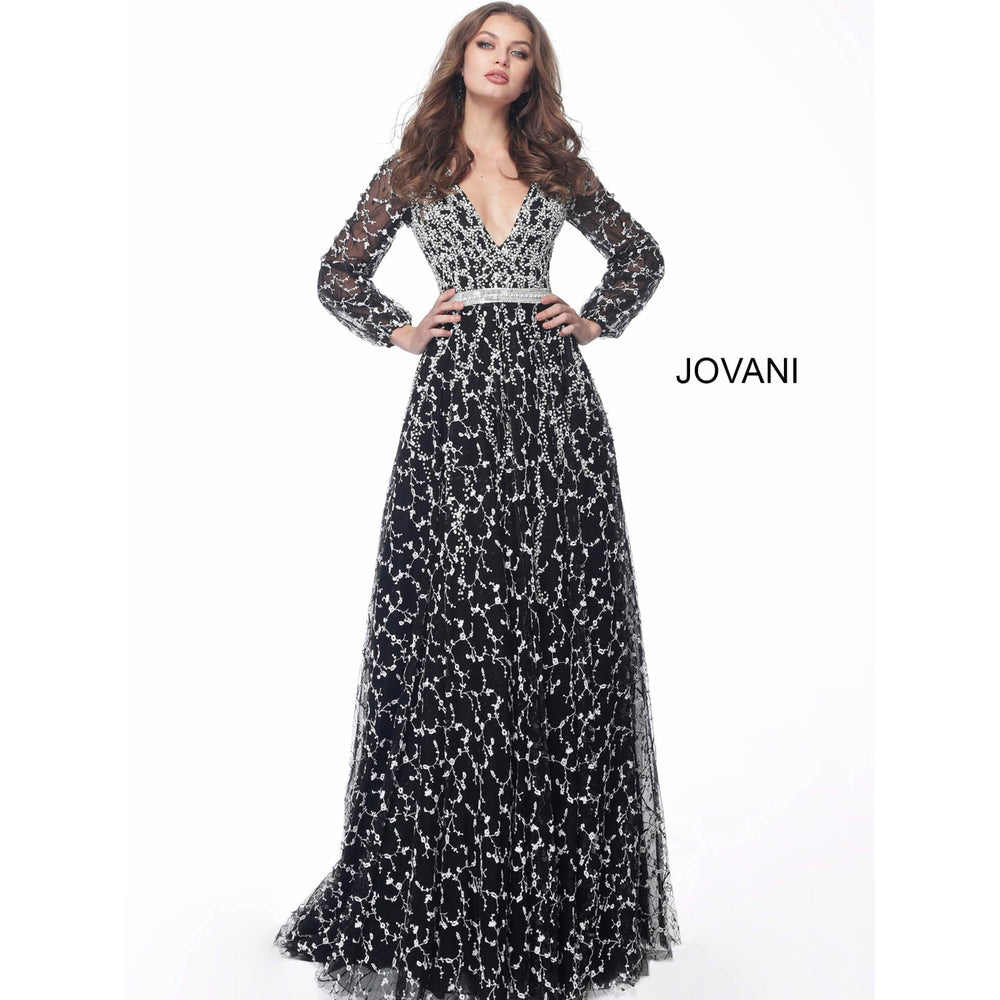 Jovani Fashion Evening Dress Jovani 60421 Black A Line Skirt Embellished Evening Gown