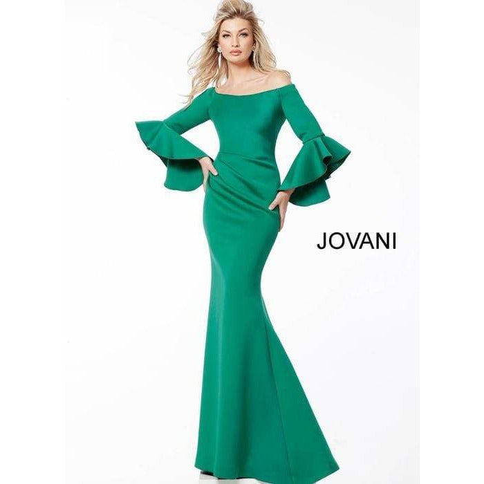 Jovani Fashion Evening Gowns Green Scuba Off the Shoulder Bell Sleeves Evening Dress 59993