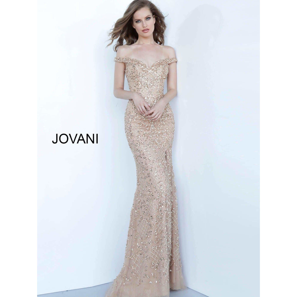 Jovani Fashion Evening Gowns Jovani Off The Shoulder 66235 in Champagne