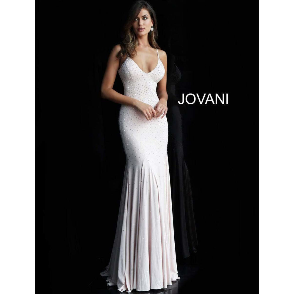 Jovani Prom Dress Backless Embellished Jersey Jovani Dress 63563