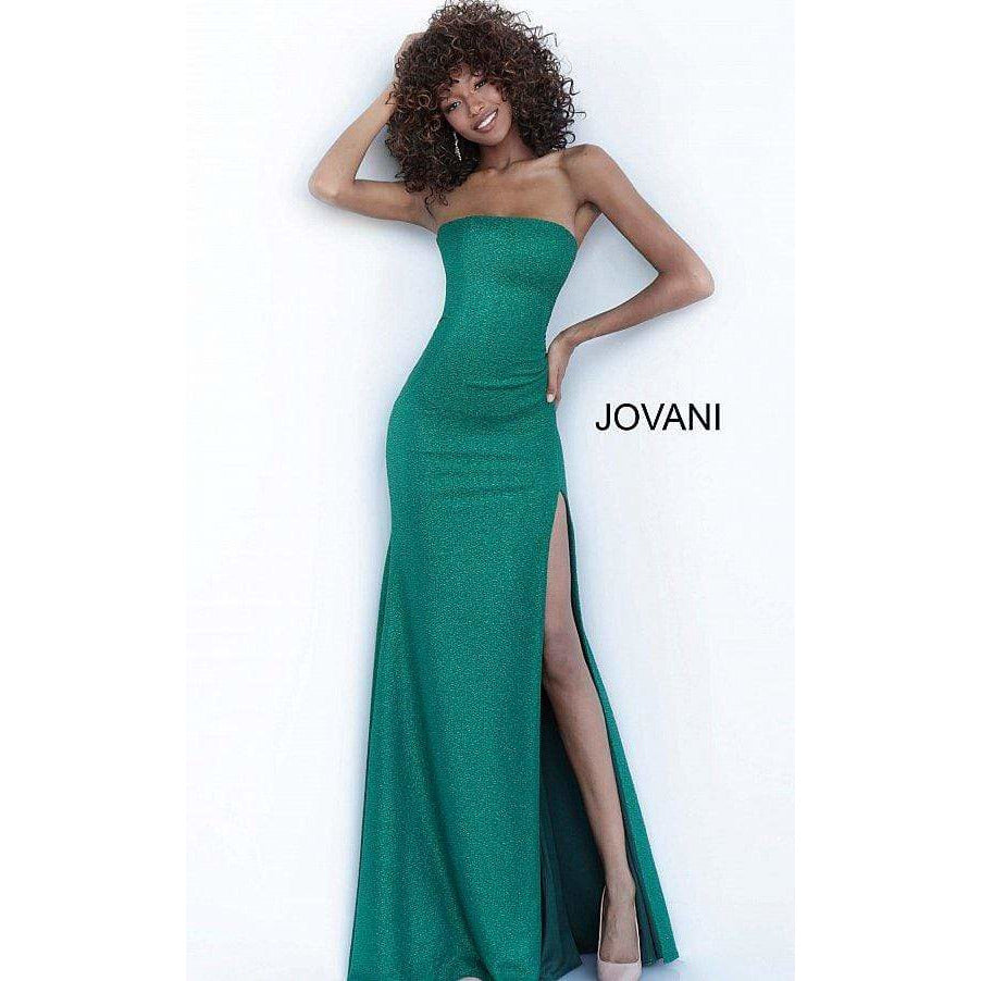 Jovani Prom Dress Hunter Low V Neck High Slit Glitter Jovani Dress 68665