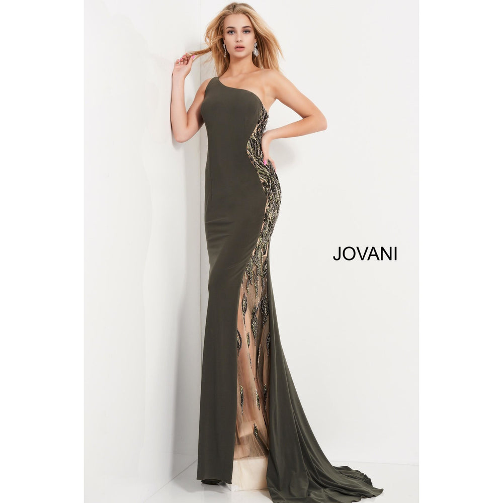 Jovani Prom Dress Jovani 02499 Olive Jersey One Shoulder Prom Dress