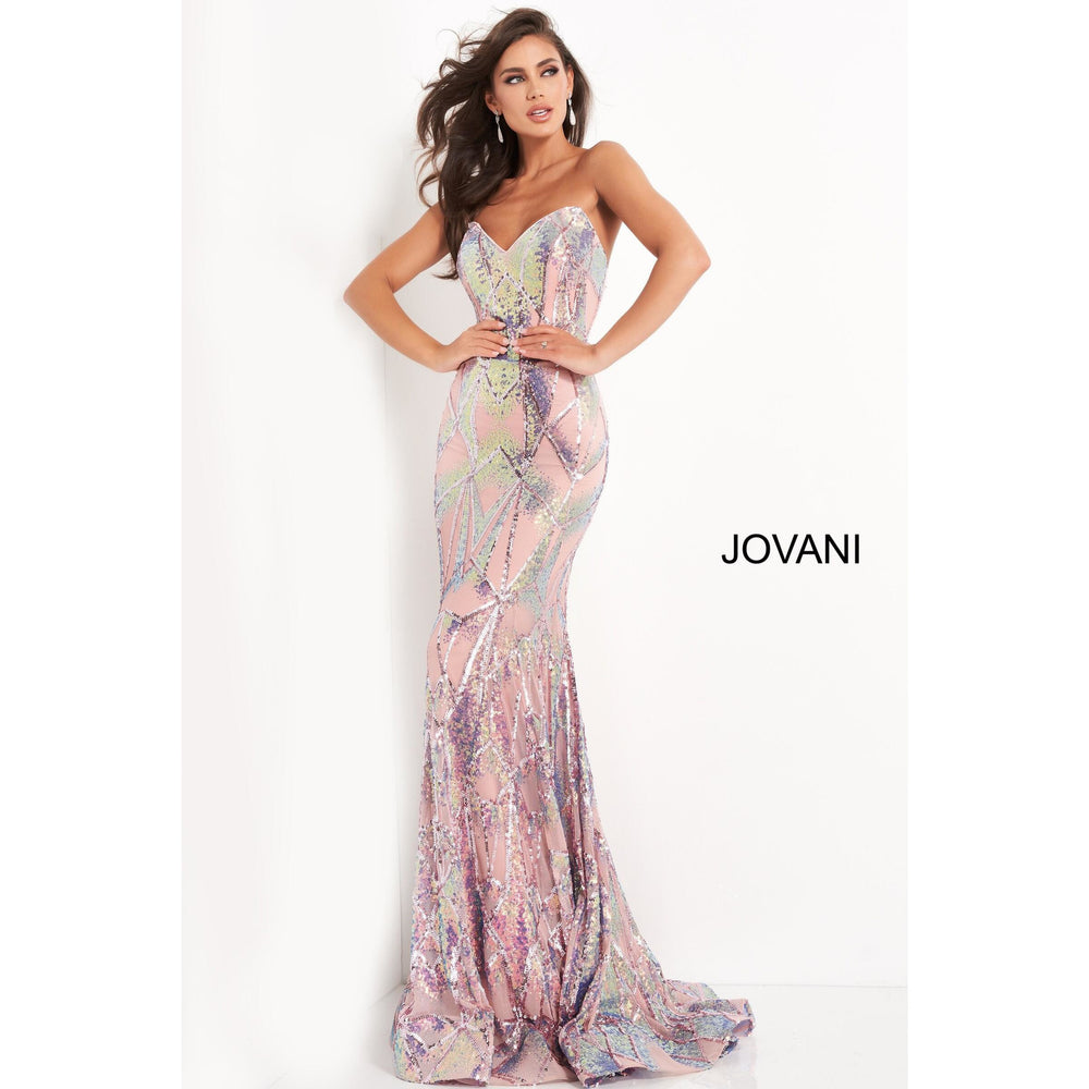 Jovani Prom Dress Jovani 05100 Pink Embellished Strapless Prom Dress