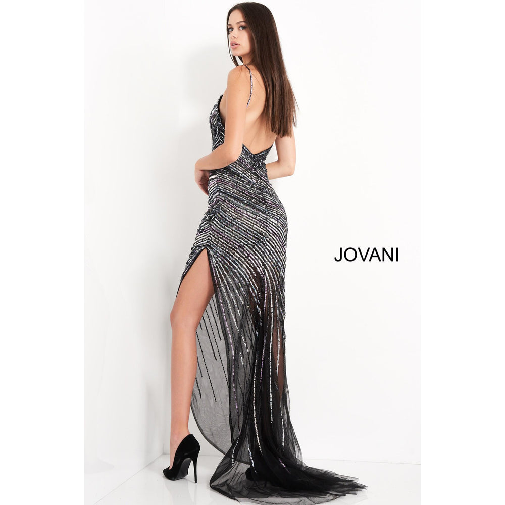 Jovani Prom Dress Jovani 1160 Black Multi Plunging Neck High Slit Prom Dress