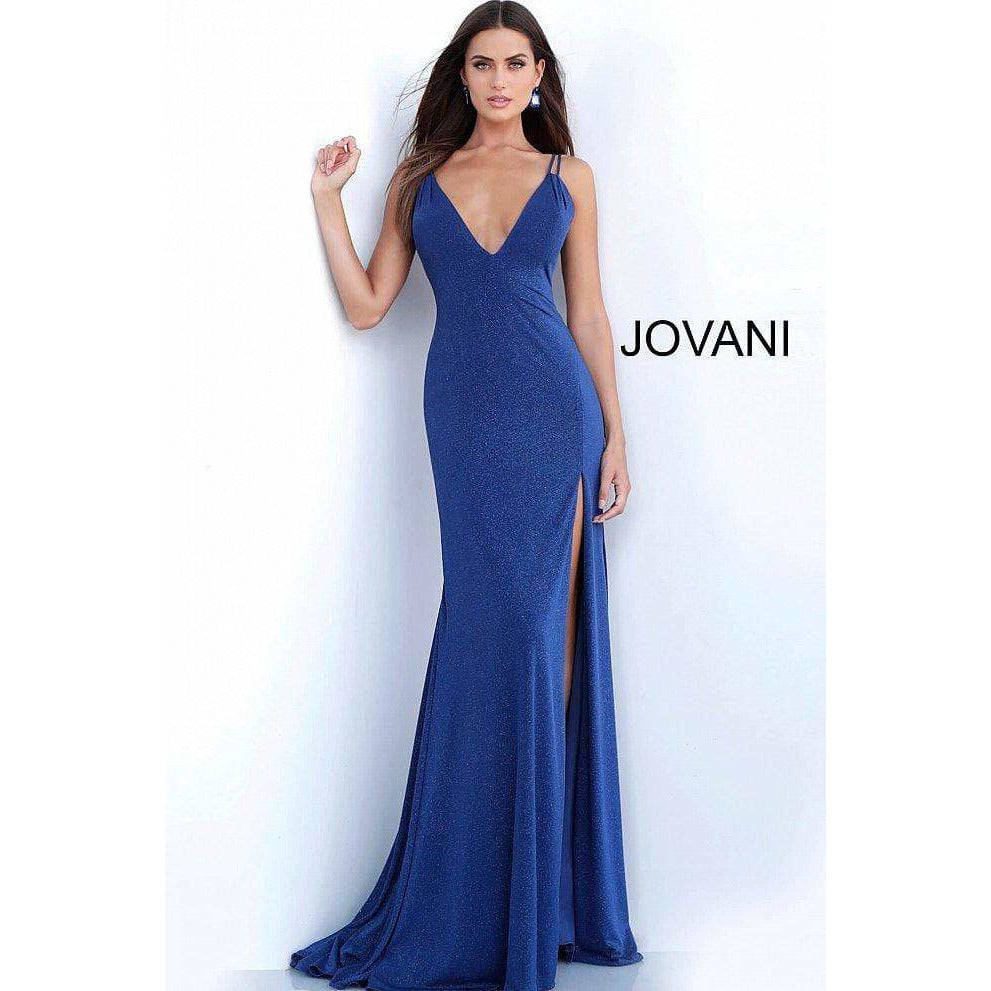Jovani Prom Dress JVN58557 Navy Plunging Neckline Fitted Prom Dress