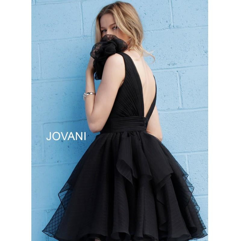 Jovani Prom Dress Little Black Dress with Flare Plunging V Neck 62641