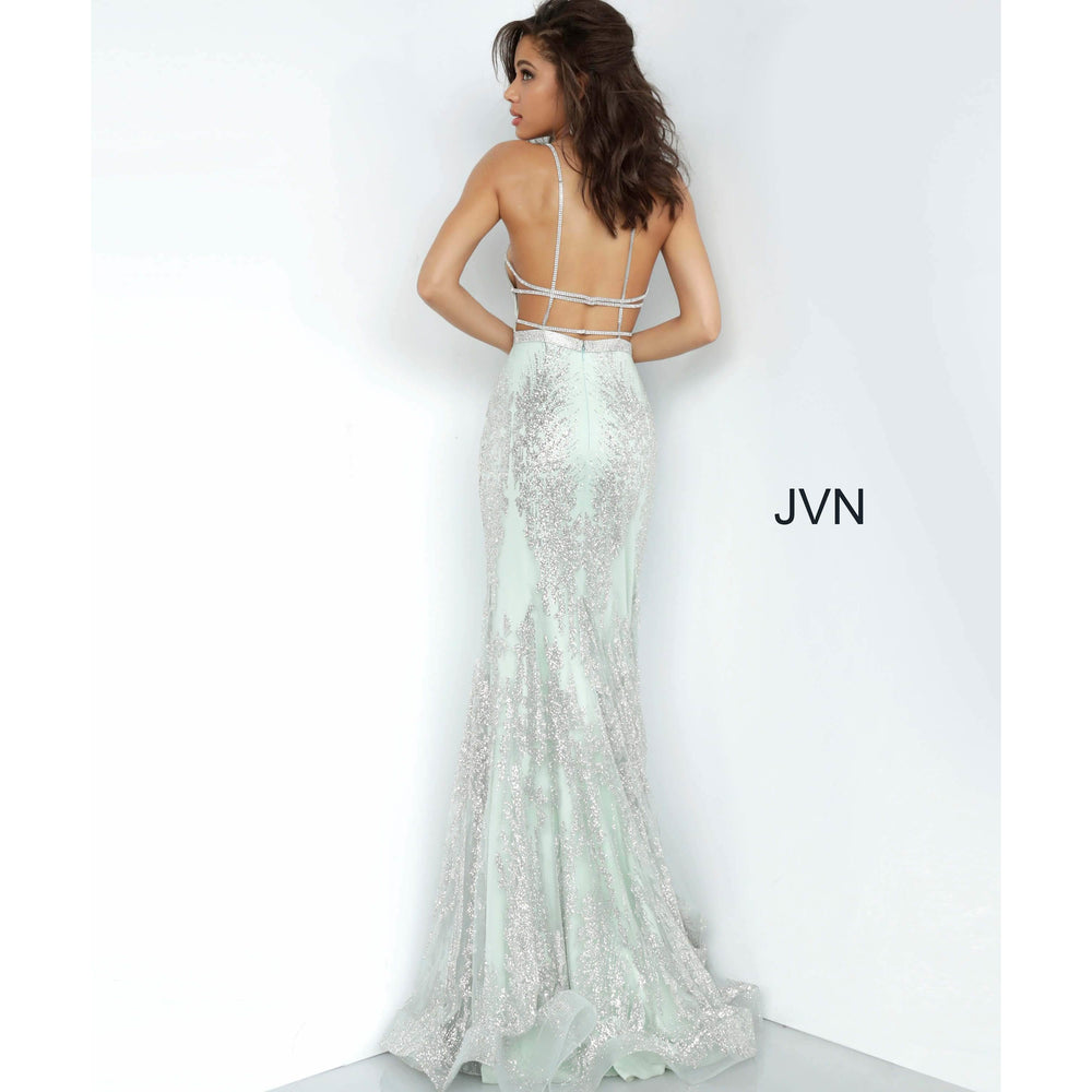 JVN by Jovani Prom Dress JVN3663 Mint Embellished Backless Prom Dress
