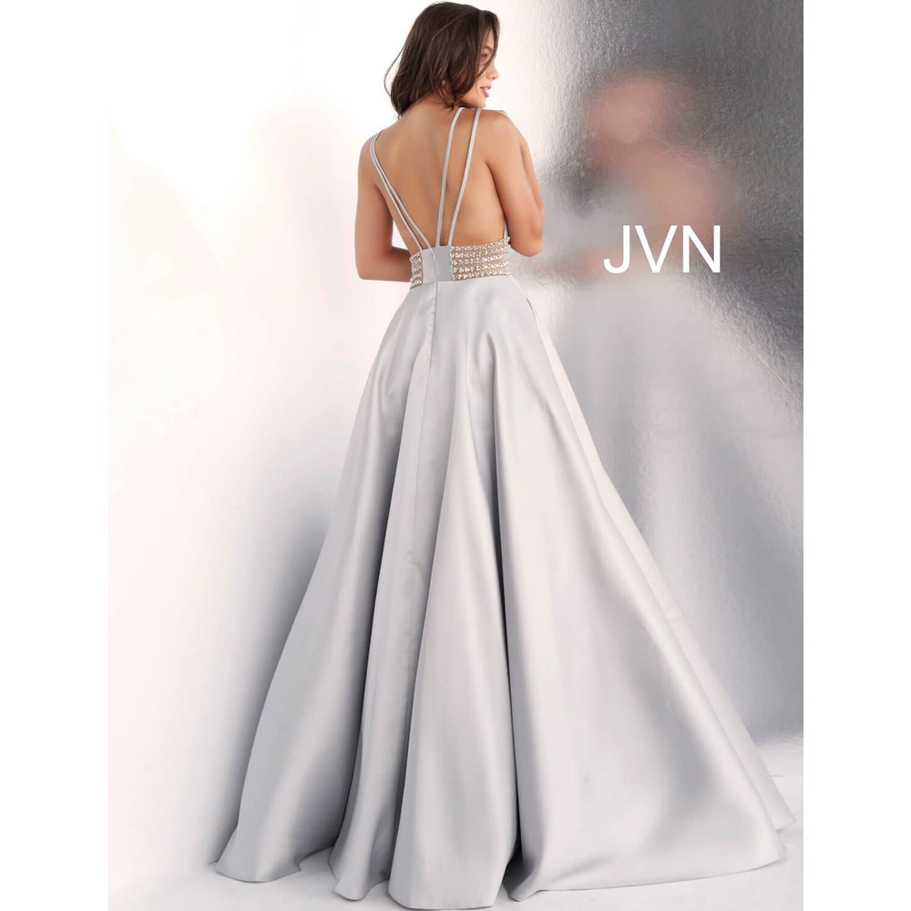 JVN by Jovani prom gown JVN63737 Silver Low V Neck A Line Prom Gown