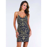 Lara Design Dress Lara 29378 - Spaghetti Strap Gold Beaded Dress