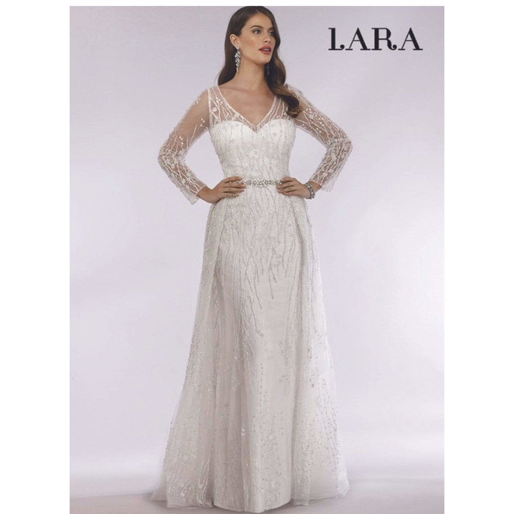 Lara Design Evening Dress Beaded Long Sleeves Gown with train