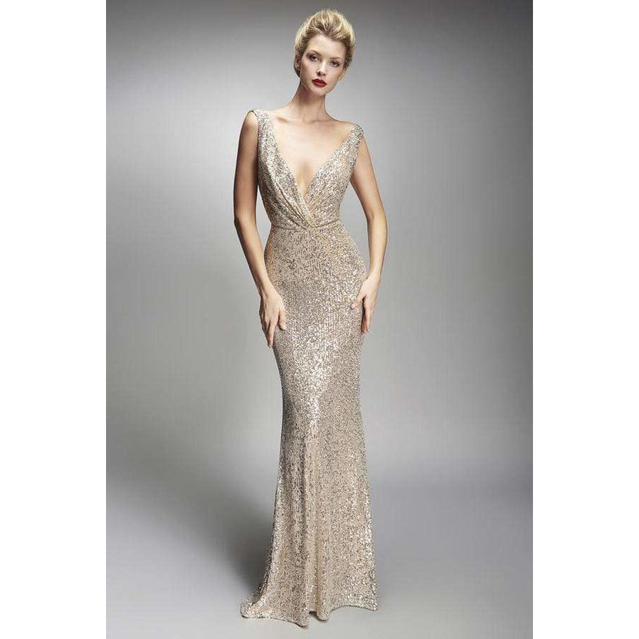 Nicole Bakti Evening Dress NICOLE BAKTI DEEP V BACK DRAPED SEQUIN EMBELLISHED DRESS
