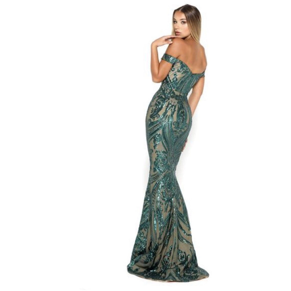NorasBridalBoutiqueNY Emerald Green /Nude Portia and Scarlett Patterned Sequin Gown Emerald Green