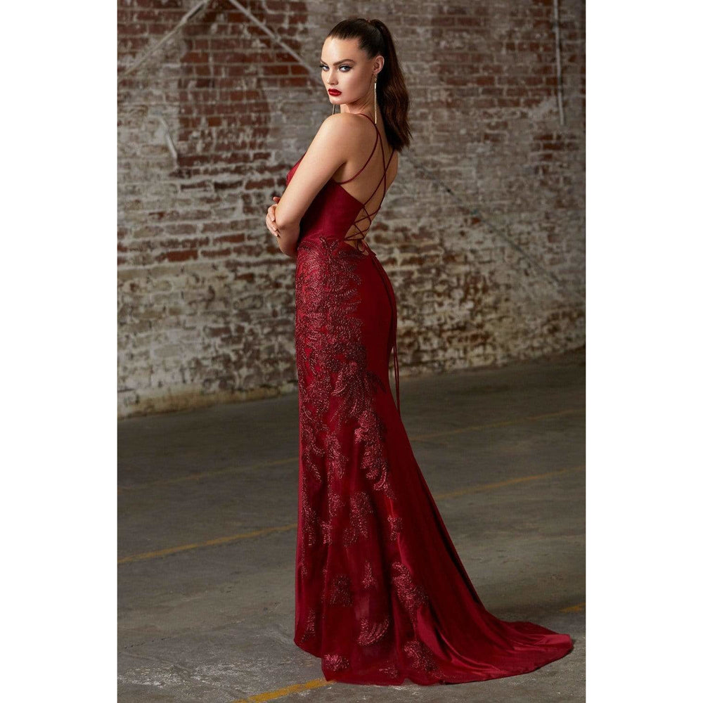 NorasBridalBoutiqueNY Evening Dress Maddie Satin Illusion Gown in Burgundy