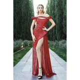 NorasBridalBoutiqueNY Evening Dress Nicole Bakti Off the Shoulder Sequin Leg Slit Gown  7039