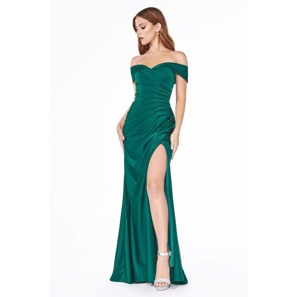 NorasBridalBoutiqueNY Evening Dress Nicole Off the Shoulder Fitted Jersey Gown NorasBridalBoutiqueNY