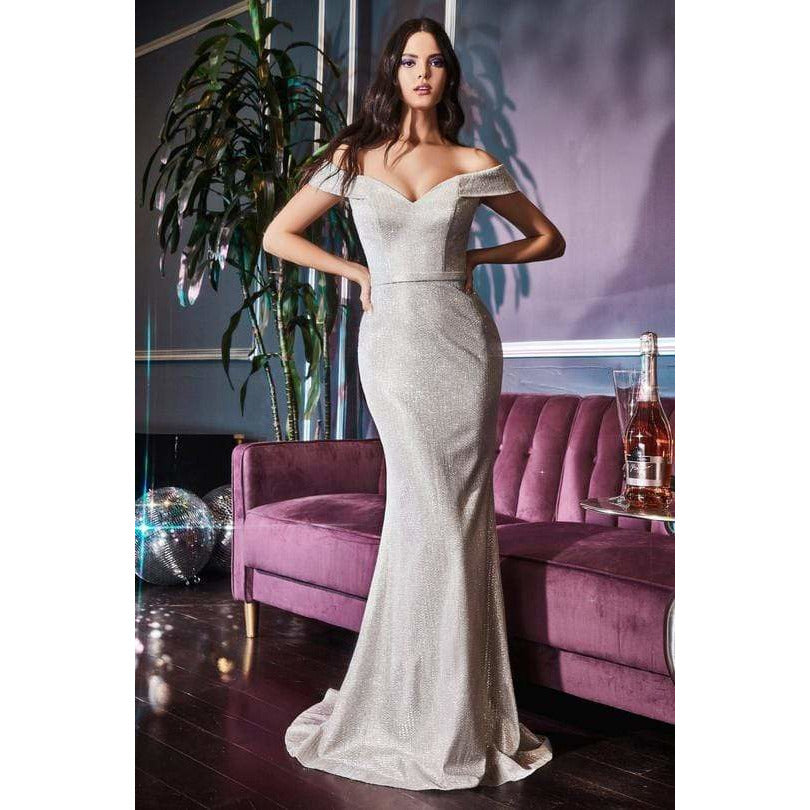 NorasBridalBoutiqueNY Evening Dress Plunging Off Shoulder Trumpet Dress