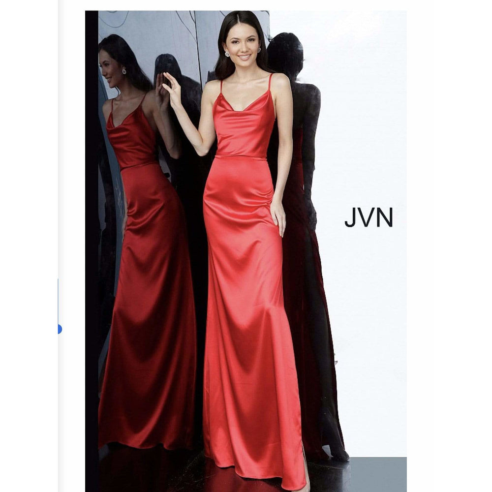 NorasBridalBoutiqueNY Evening Dress Red Cowl Neckline Side Slit Prom Dress JVN4390