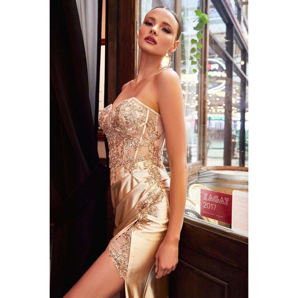 NorasBridalBoutiqueNY Evening Gown Leo Satin Corset Fitted Gown