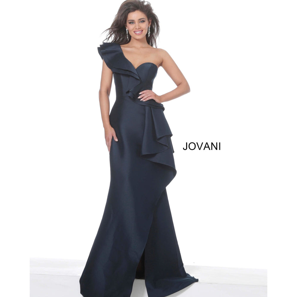 NorasBridalBoutiqueNY Evening Gowns Jovani 02419 Navy One Shoulder Ruffle Evening Dress