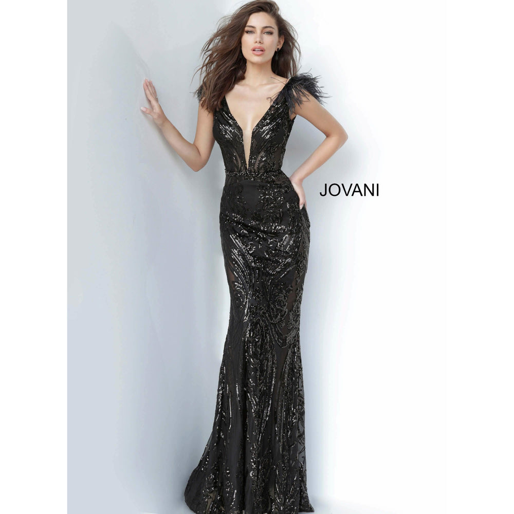 NorasBridalBoutiqueNY Evening Gowns Jovani 3180 White Plunging Neck Embellished Prom Dress