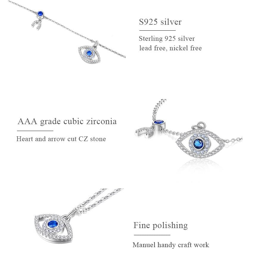 NorasBridalBoutiqueNY Evil Necklace Evil Eye Serling Silver Necklace
