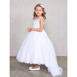 NorasBridalBoutiqueNY flower girl dress Flower Girl Beautiful Illusion Neckline with Lace Applique Bodice