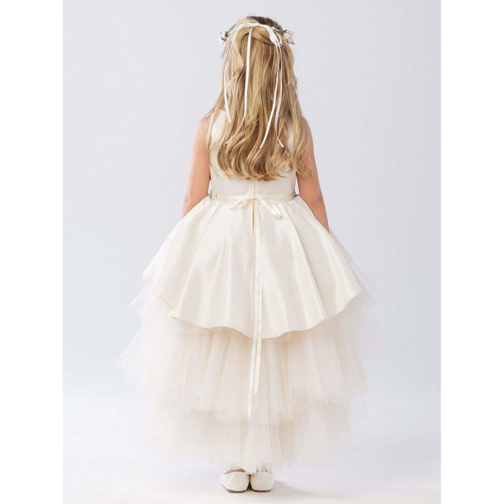 NorasBridalBoutiqueNY Flower Girl Dress Flower Girl High and Low dress with satin overlay