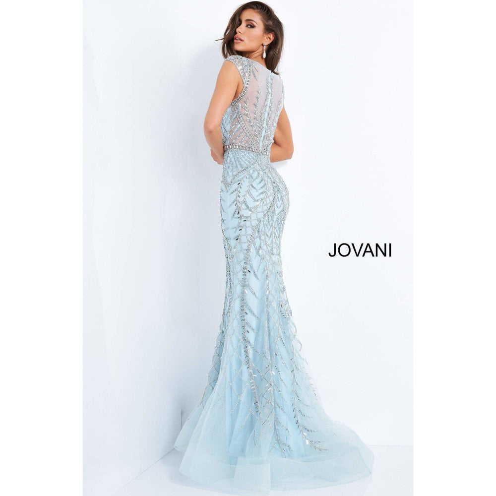 NorasBridalBoutiqueNY Jovani 02336 Light Blue Beaded Sheer Neck Evening Gown